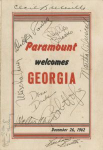 One of the highlights of the team's trip to California was a visit to Paramount Studios and a chance to meet with some Hollywood stars. (Courtesy of Hargrett Rare Book and Manuscript Library/University of Georgia Libraries)
